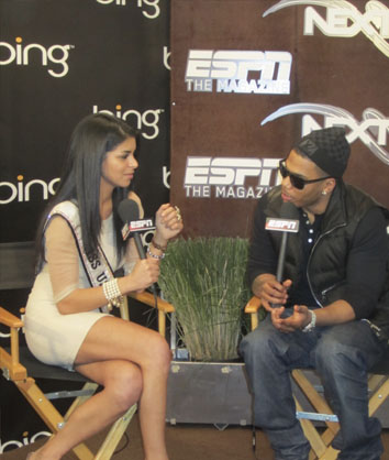Hosts ESPN segment with Nelly at 2011 NFL Superbowl