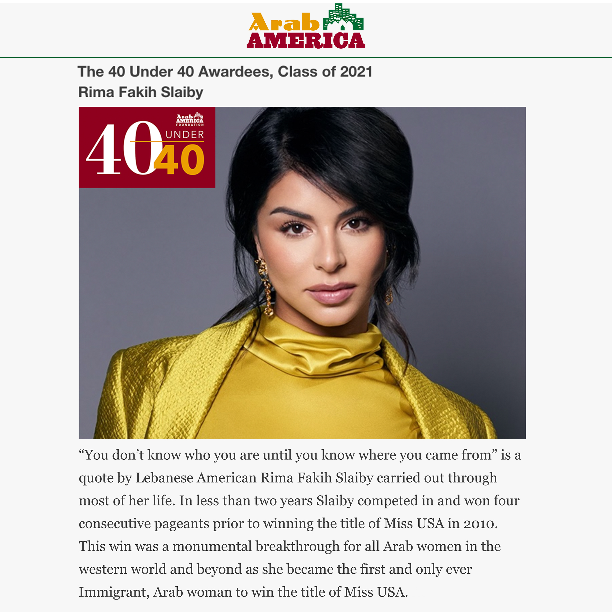 Named As One Of The Arab America Foundation's 40 Under 40 Awardees (Class of 2021)